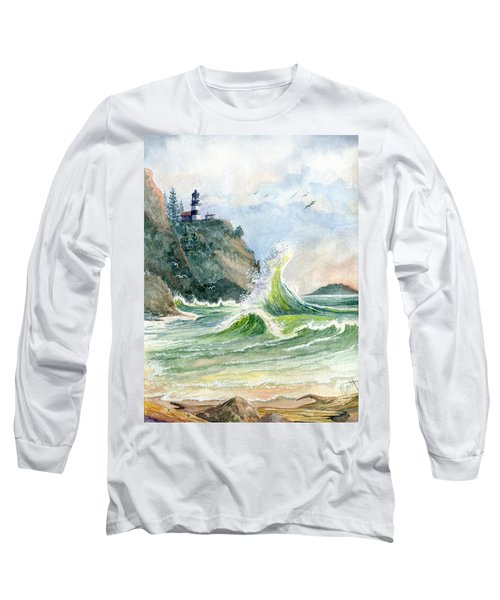 Long Sleeve T-Shirt featuring the painting Cape Disappointment Lighthouse by Marilyn Smith