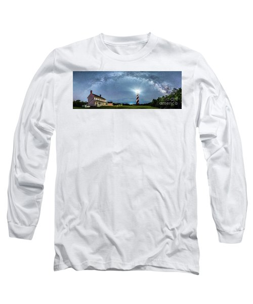 Cape Hatteras Light House Milky Way Panoramic Long Sleeve T-Shirt