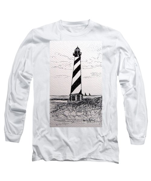 Long Sleeve T-Shirt featuring the drawing Cape Hatteras Lighthouse Nc by Julie Brugh Riffey