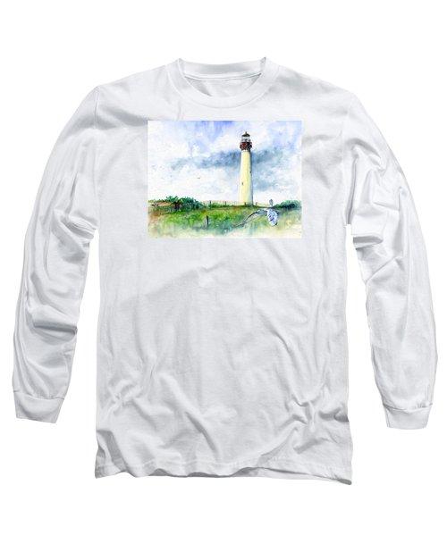 Cape May Lighthouse Long Sleeve T-Shirt by John D Benson