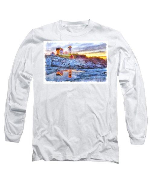 Cape Neddick Light Watercolor Long Sleeve T-Shirt
