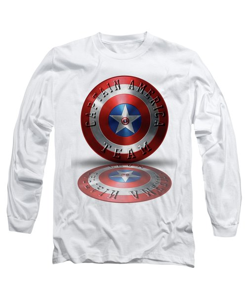 Captain America Team Typography On Captain America Shield  Long Sleeve T-Shirt by Georgeta Blanaru