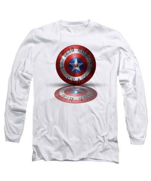 Captain America Team Typography On Captain America Shield  Long Sleeve T-Shirt