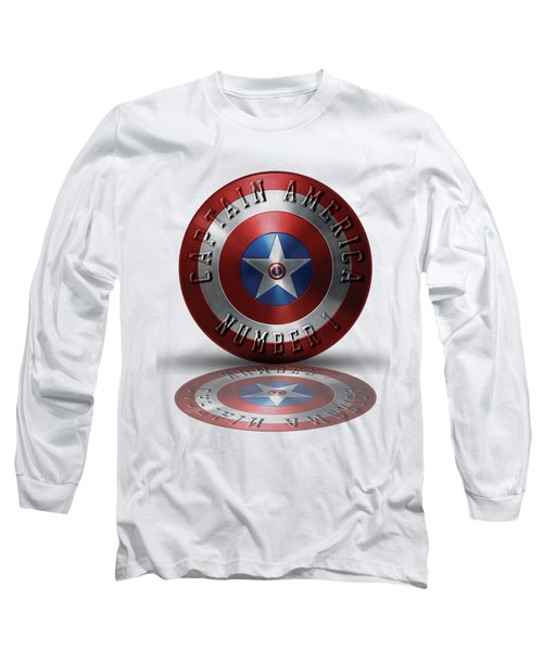Captain America Typography On Captain America Shield  Long Sleeve T-Shirt by Georgeta Blanaru