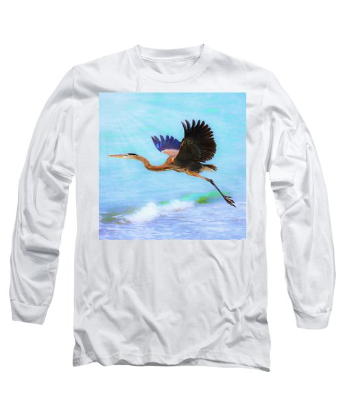 Captiva Crane In Flight Long Sleeve T-Shirt
