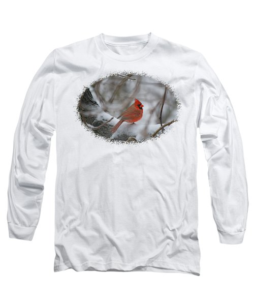 Cardinal On Snowy Branch Long Sleeve T-Shirt by Larry Bishop