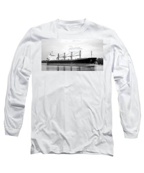 Cargo Ship On River Long Sleeve T-Shirt