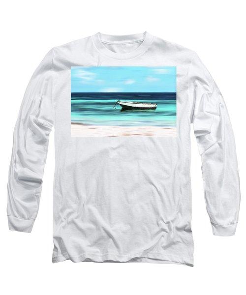 Caribbean Dream Boat Long Sleeve T-Shirt by Deborah Smith