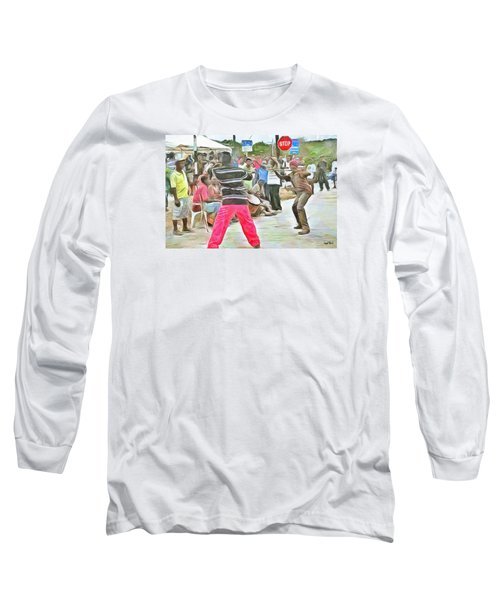 Long Sleeve T-Shirt featuring the painting Caribbean Scenes - De Stick Fight by Wayne Pascall