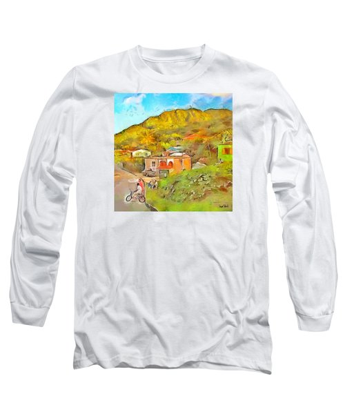Long Sleeve T-Shirt featuring the painting Caribbean Scenes - De Village by Wayne Pascall