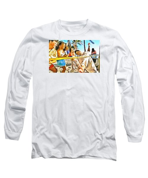 Long Sleeve T-Shirt featuring the painting Caribbean Scenes - Limbo by Wayne Pascall