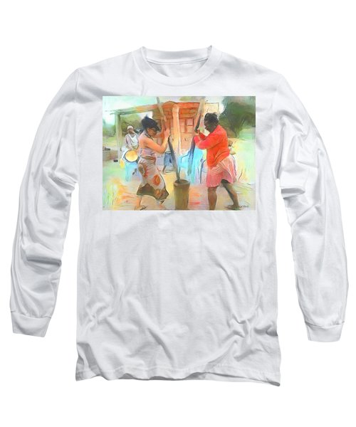 Caribbean Scenes - Mortar And Pestle In De Country Long Sleeve T-Shirt