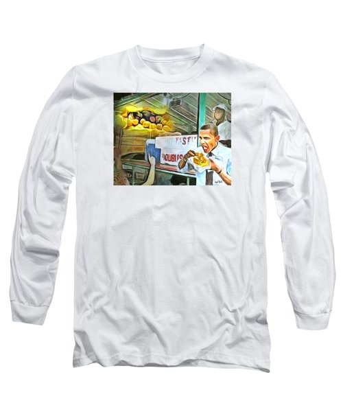 Caribbean Scenes - Obama Eats Doubles In Trinidad Long Sleeve T-Shirt by Wayne Pascall