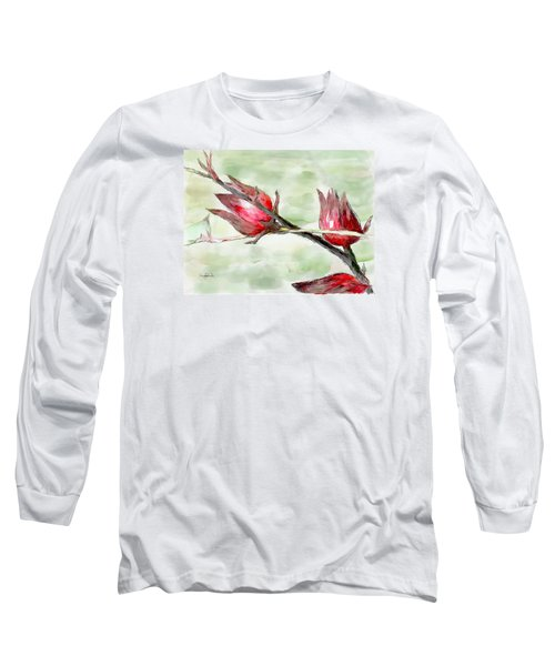 Caribbean Scenes - Sorrel Plant Long Sleeve T-Shirt by Wayne Pascall