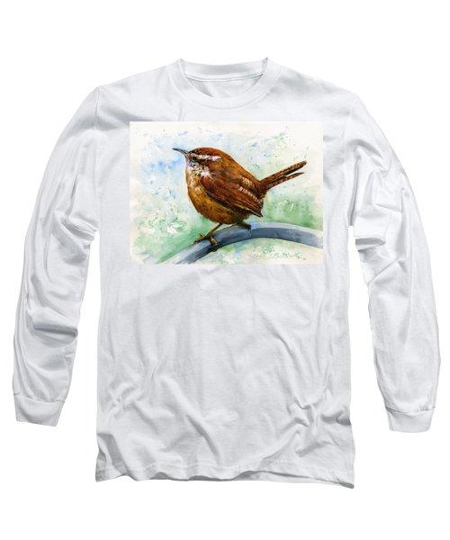 Carolina Wren Large Long Sleeve T-Shirt by John D Benson