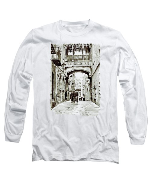 Carrer Del Bisbe - Barcelona Black And White Long Sleeve T-Shirt by Marian Voicu