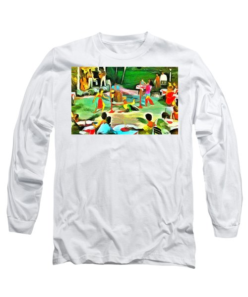 Carribean Scenes - Calypso And Limbo Long Sleeve T-Shirt by Wayne Pascall
