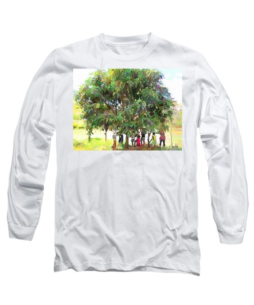 Carribean Scenes - Under De Mango Tree Long Sleeve T-Shirt by Wayne Pascall