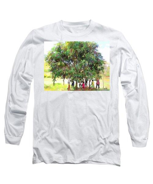 Carribean Scenes - Under De Mango Tree Long Sleeve T-Shirt