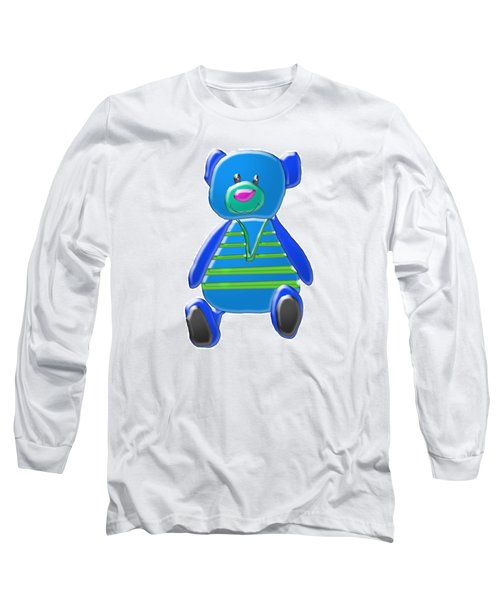 Long Sleeve T-Shirt featuring the digital art Cartoon Bear In Sweater Vest by Karen Nicholson