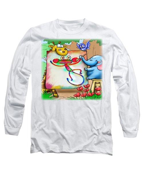 Cartoon Monkey Painting Long Sleeve T-Shirt