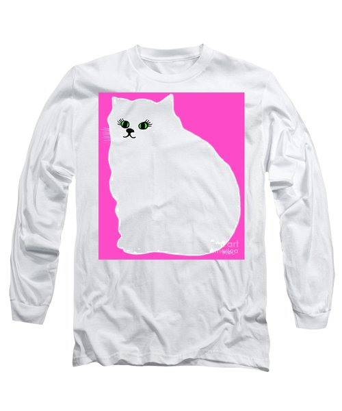 Long Sleeve T-Shirt featuring the painting Cartoon Plump White Cat On Pink by Marian Cates