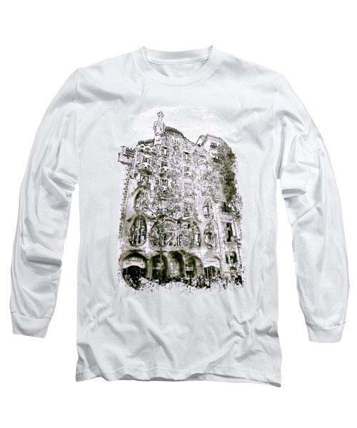 Casa Batllo Barcelona Black And White Long Sleeve T-Shirt