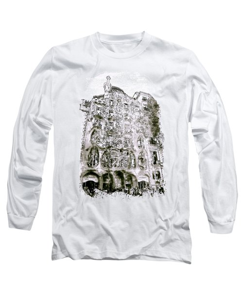 Casa Batllo Barcelona Black And White Long Sleeve T-Shirt
