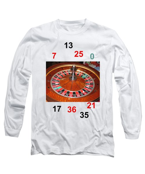 Casino Roulette Wheel Lucky Numbers Long Sleeve T-Shirt by Tom Conway