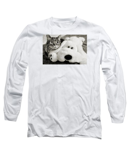 Long Sleeve T-Shirt featuring the photograph Cat And Dog In B W by Andee Design