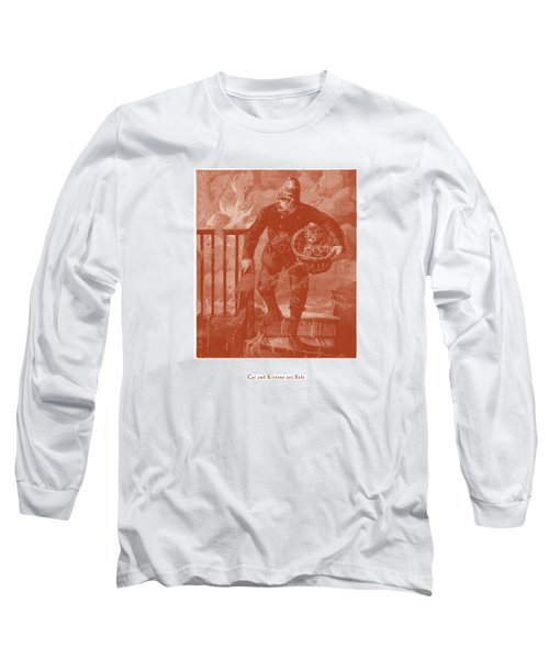 Long Sleeve T-Shirt featuring the drawing Cat And Kittens Are Safe by David Davies