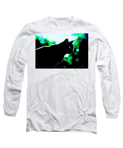 Cat Bathed In Green Light Long Sleeve T-Shirt by Gina O'Brien