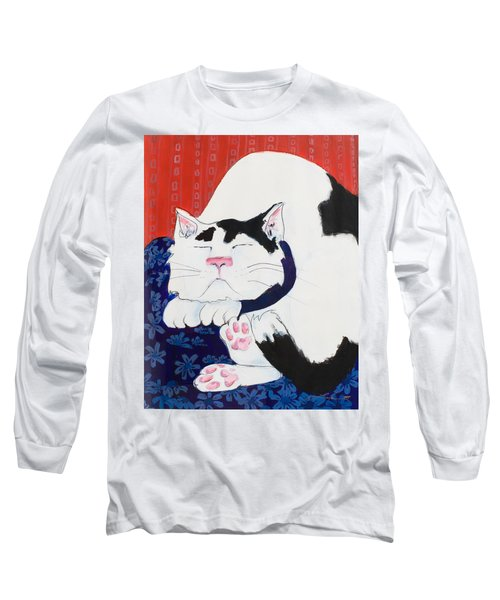Cat I - Asleep Long Sleeve T-Shirt by Leela Payne
