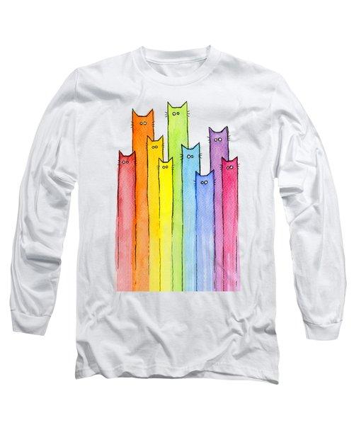 Cat Rainbow Watercolor Pattern Long Sleeve T-Shirt