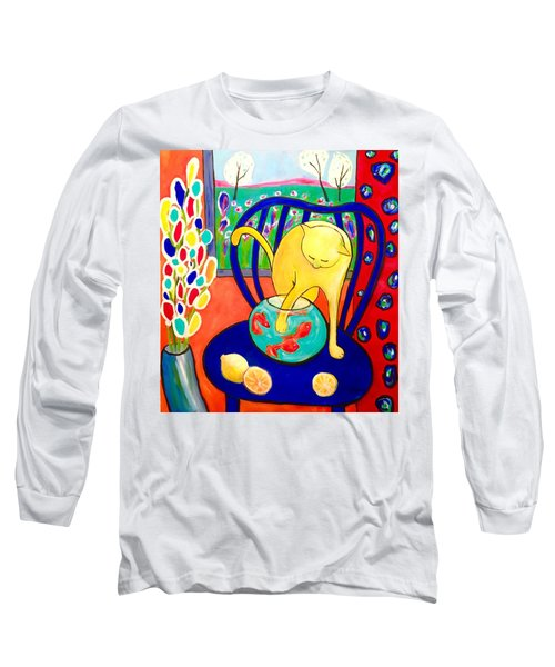 Cat - Tribute To Matisse Long Sleeve T-Shirt