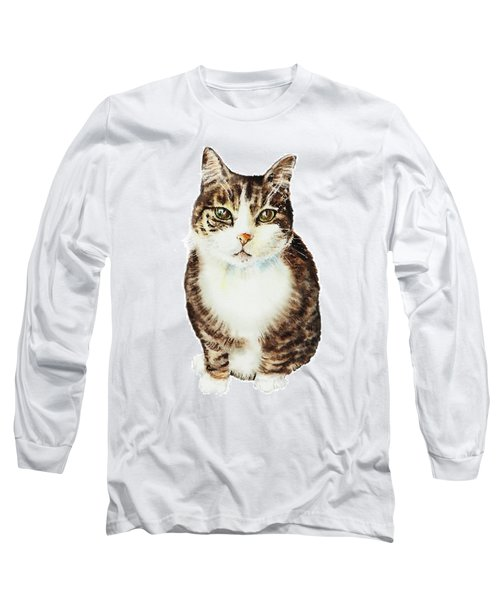 Cat Watercolor Illustration Long Sleeve T-Shirt