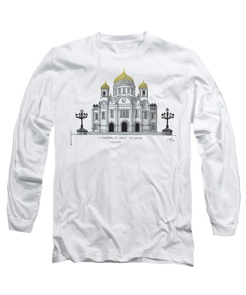 Long Sleeve T-Shirt featuring the drawing Cathedral  Of Christ The Savior - Moscow by Frederic Kohli