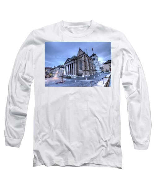 Cathedral Saint-pierre, Peter, In The Old City, Geneva, Switzerland, Hdr Long Sleeve T-Shirt by Elenarts - Elena Duvernay photo