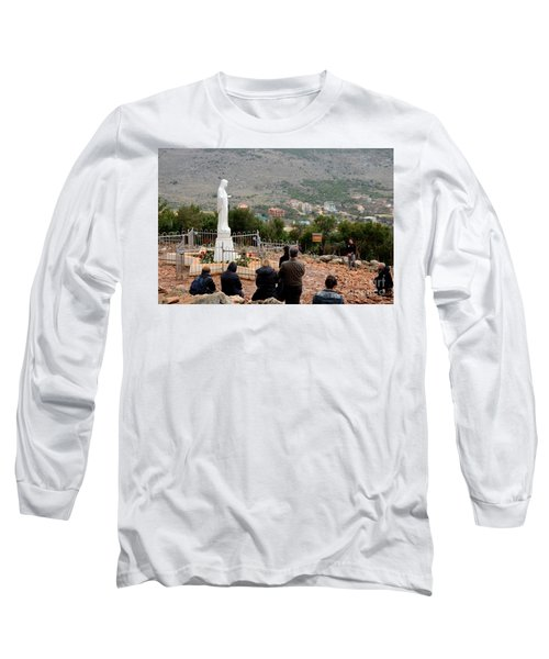 Catholic Pilgrim Worshipers Pray To Virgin Mary Medjugorje Bosnia Herzegovina Long Sleeve T-Shirt by Imran Ahmed