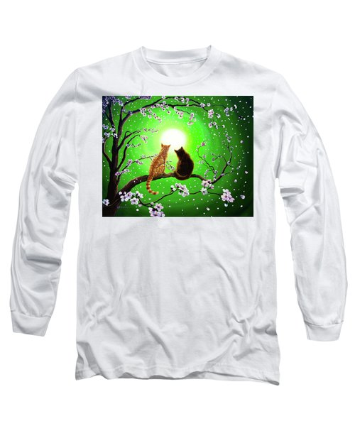 Cats On A Spring Night Long Sleeve T-Shirt by Laura Iverson