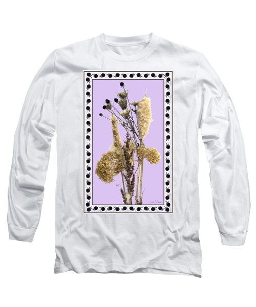 Long Sleeve T-Shirt featuring the digital art Cattails And November Flowers by Lise Winne