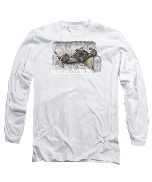 Caution Guard Dog - Doberman Pinscher Print Color Tinted Long Sleeve T-Shirt