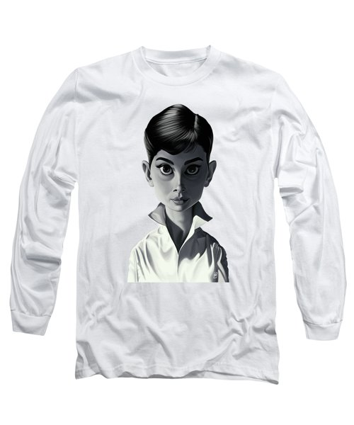 Celebrity Sunday - Audrey Hepburn Long Sleeve T-Shirt by Rob Snow