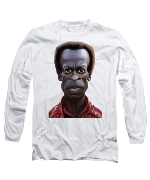 Long Sleeve T-Shirt featuring the drawing Celebrity Sunday - Miles Davies by Rob Snow