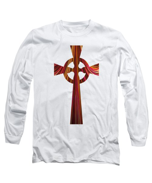 Celtic Cross With Fractal Abstract Fill Long Sleeve T-Shirt