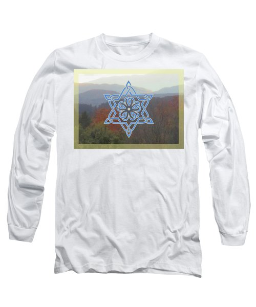 Celtic Hexagram Rose In Blue Long Sleeve T-Shirt