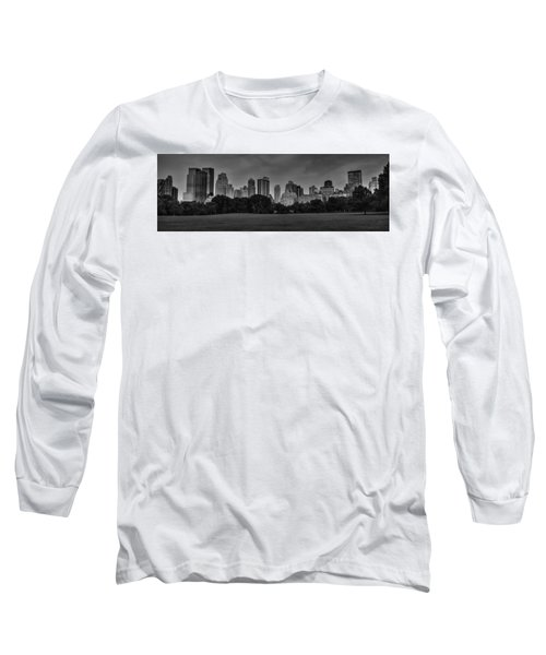 Long Sleeve T-Shirt featuring the photograph Central Park Skyline Pano 001 Bw by Lance Vaughn