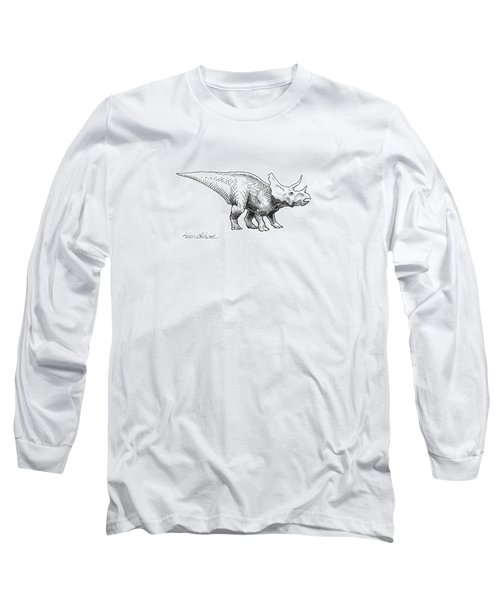 Long Sleeve T-Shirt featuring the drawing Cera The Triceratops - Dinosaur Ink Drawing by Karen Whitworth