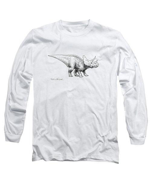 Cera The Triceratops - Dinosaur Ink Drawing Long Sleeve T-Shirt