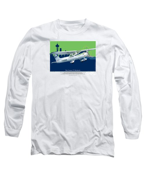 Cessna Skyhawk 172 Long Sleeve T-Shirt by Kenneth De Tore